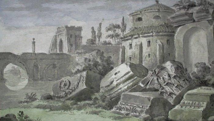 Dessin aquarellé et plume du xviiième siècle