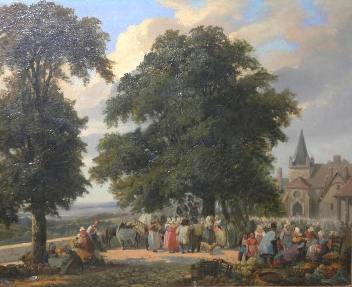 Sortie de la messe dominicale dans un village de normandie.&; avis à