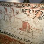 paestum musee fresque-cavaliere avec son char et ses chevaux