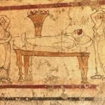 paestum musee fresque-lit mortuaire entourée des pleureuses