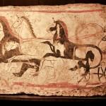 paestum-musee fresque-trouver sur le site cavalier avec son char et ses 4 chevaux