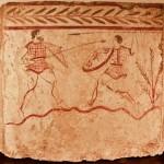 paestum-musee-fresque trouver sur le site-combat de-gladiateurs avec une lance bis