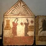 paestum-musee-fresque trouver sur le site tombe lucanienne et maison. Femmes en pleurs