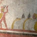 paestum musee-fresque-trouver sur les-guerriers avec leur boucliers