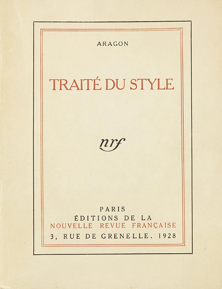 aragon-louis-traite-du-style-paris-nrf-1928-220-x-168-mm-br-edition-originale-un-des-109-ex-nlxxi-reimposes-sur-verge-du-tirage-de-tete-exemplaire-non-rogne-en-bel-etat-bien-complet-du-tres-rare-feuillet-verge-au-filigrane-de--10
