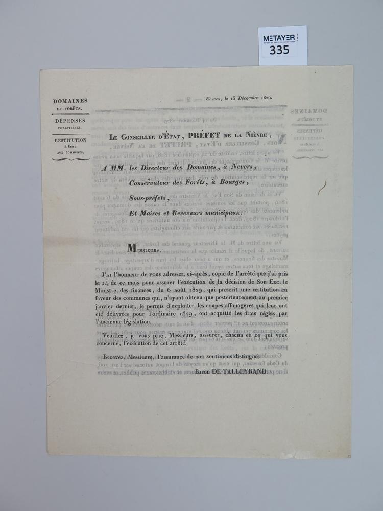 arrete du conseil d etat pr fet de la nievre nevers imprimerie delavau 15 d cembre 1829. Black Bedroom Furniture Sets. Home Design Ideas