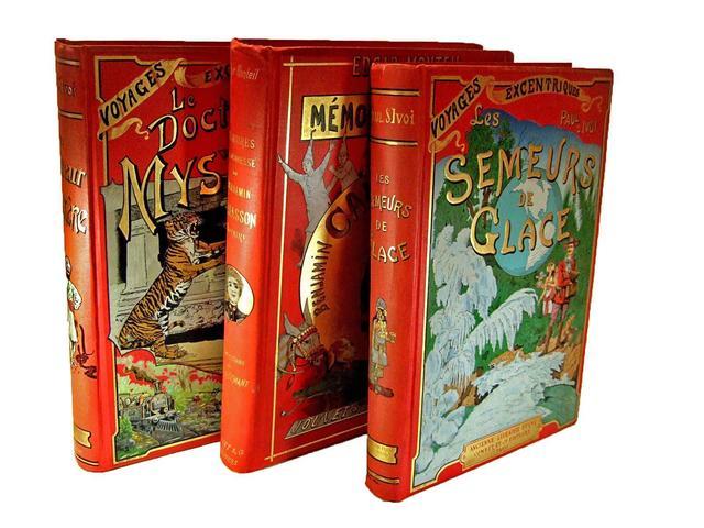 cartonnages polychromes ensemble de trois grands volumes bibliorare