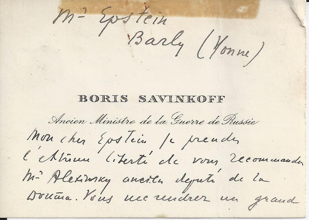 Savinkoff B Deux 2 Cartes De Visite Ancien