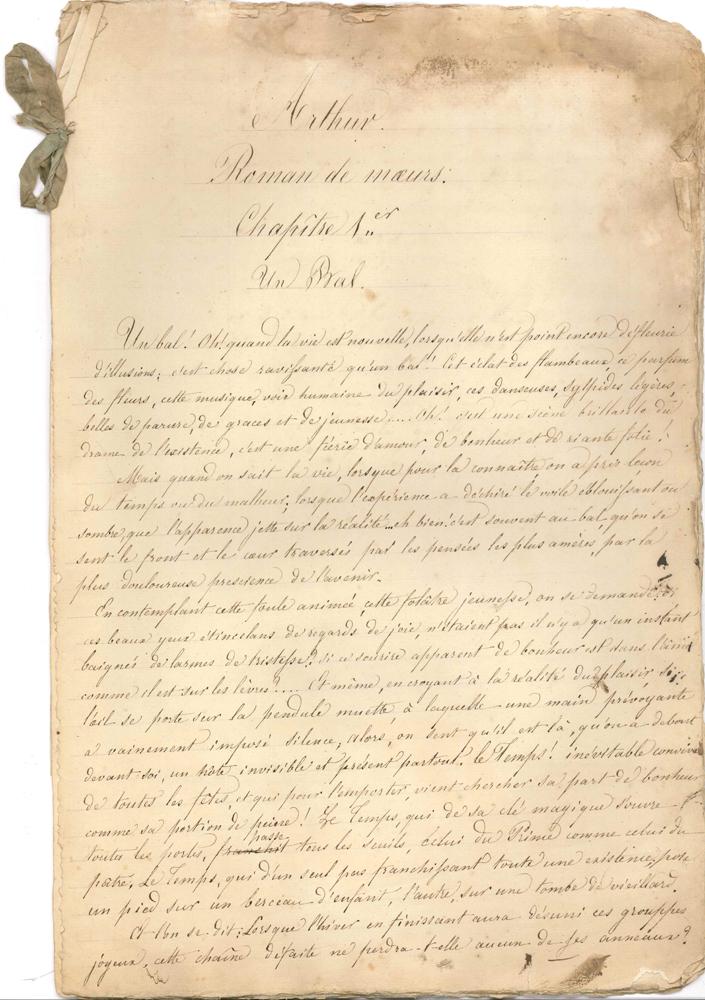 elisa-mercoeur-1809-1835-manuscrit-autographe-arthur-roman-de-moeurs-vers-1832-210-pages-grand-in-fol-la-plupart-ecrites-au-seul-recto-mouillures-et-effrangeures-manuscrit-de-ce-roman-publie-a-titre-posthume-sous-le-titre--189