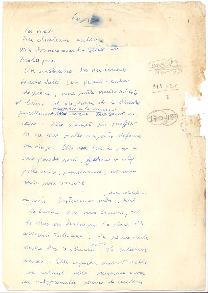 jean-anouilh-manuscrit-autographe-pattes-blanches-1948-215-feuillets-petit-in-fol-pagines-1-215-avec-quelques-versos-de-brouillons-abandonnes-quelques-mouillures-et-traces-de-brulures-de-cigarettes-marge-du-1er-feuillet-un-peu--18A