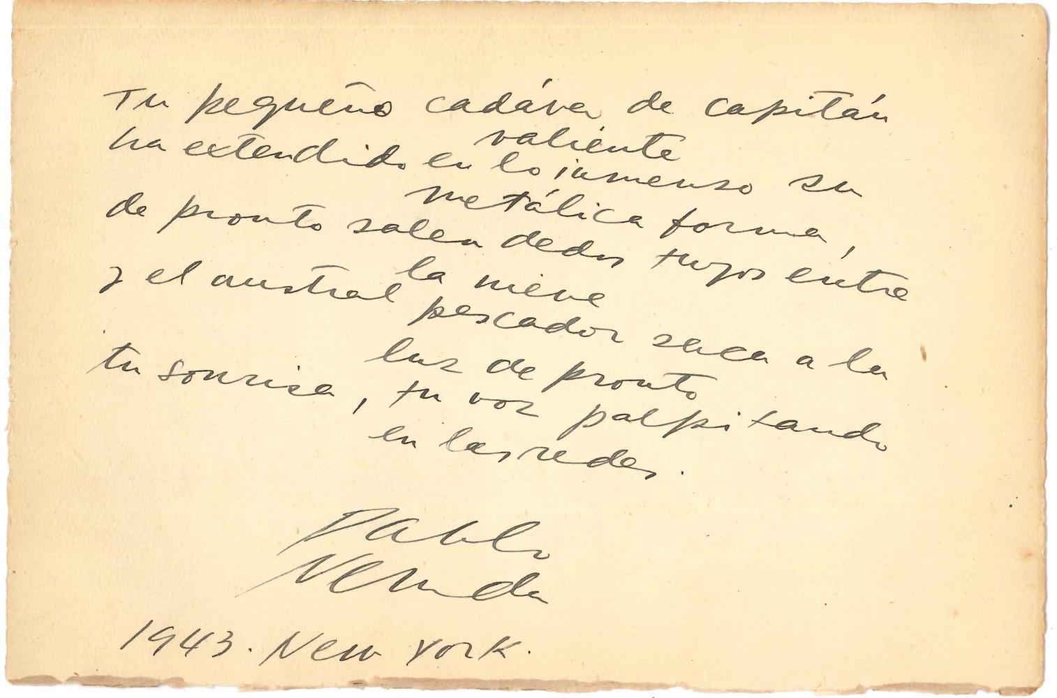 pablo-neruda-1904-1973-poeme-autographe-signe-un-canto-para-bolivar-new-york-1943-1-page-oblong-in-8-portant-au-dos-une-p-a-s-musicale-darthur-rubinstein-deuxieme-strophe-du-celebre-poeme-un-canto-para-bolivar-lu-par-neruda--198