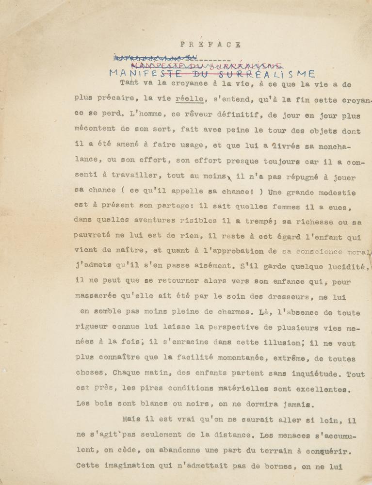 andr233 breton 18961966 tapuscrit avec additions et