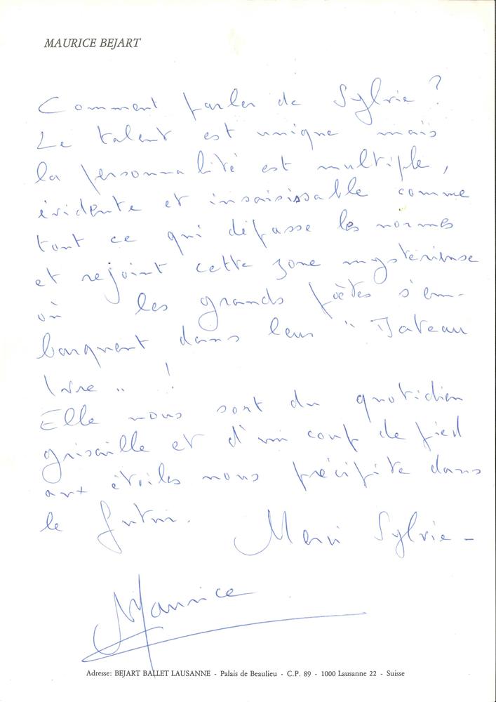 maurice-bejart-1927-2007-danseur-et-choregraphe-manuscrit-autographe-signe-maurice-lausanne-1995-1-page-in-4-a-son-en-tete-superbe-texte-sur-la-danseuse-etoile-sylvie-guilhem-comment-parler-de-sylvie-le-talent--312