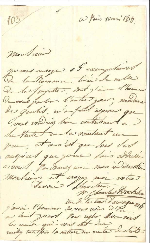 nicolas-charles-bochsa-1789-1856-harpiste-compositeur-et-chef-dorchestre-l-a-s-paris-10-mai-1813-au-libraire-maradan-1-page-in-8-adresse-il-lui-envoie-15-exemplaires-de-sa-romance-tiree-de-mlle-de-la-fayette-madame-de--317