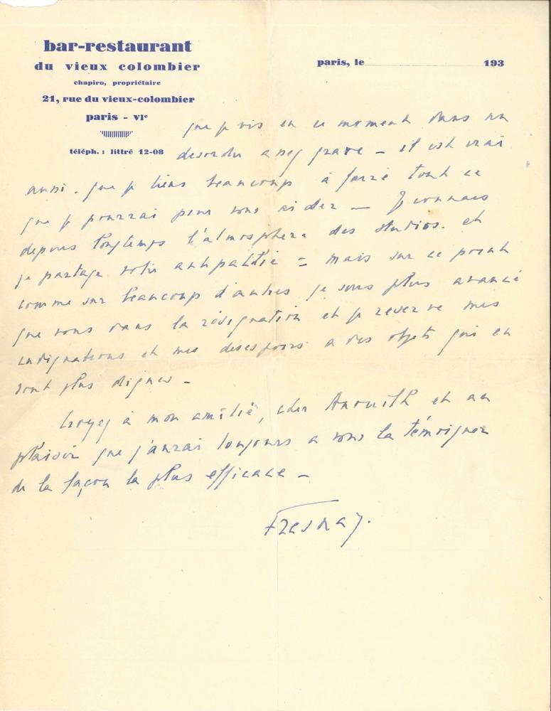 pierre-fresnay-1897-1975-28-l-a-s-une-incomplete-et-1-l-s-1932-1938-et-s-d-a-jean-anouilh-et-7-l-a-s-de-jean-anouilh-a-pierre-fresnay-avec-un-manuscrit-autographe-dont-3-minutes-non-signees-60-pages-formats-divers-et-43--343A