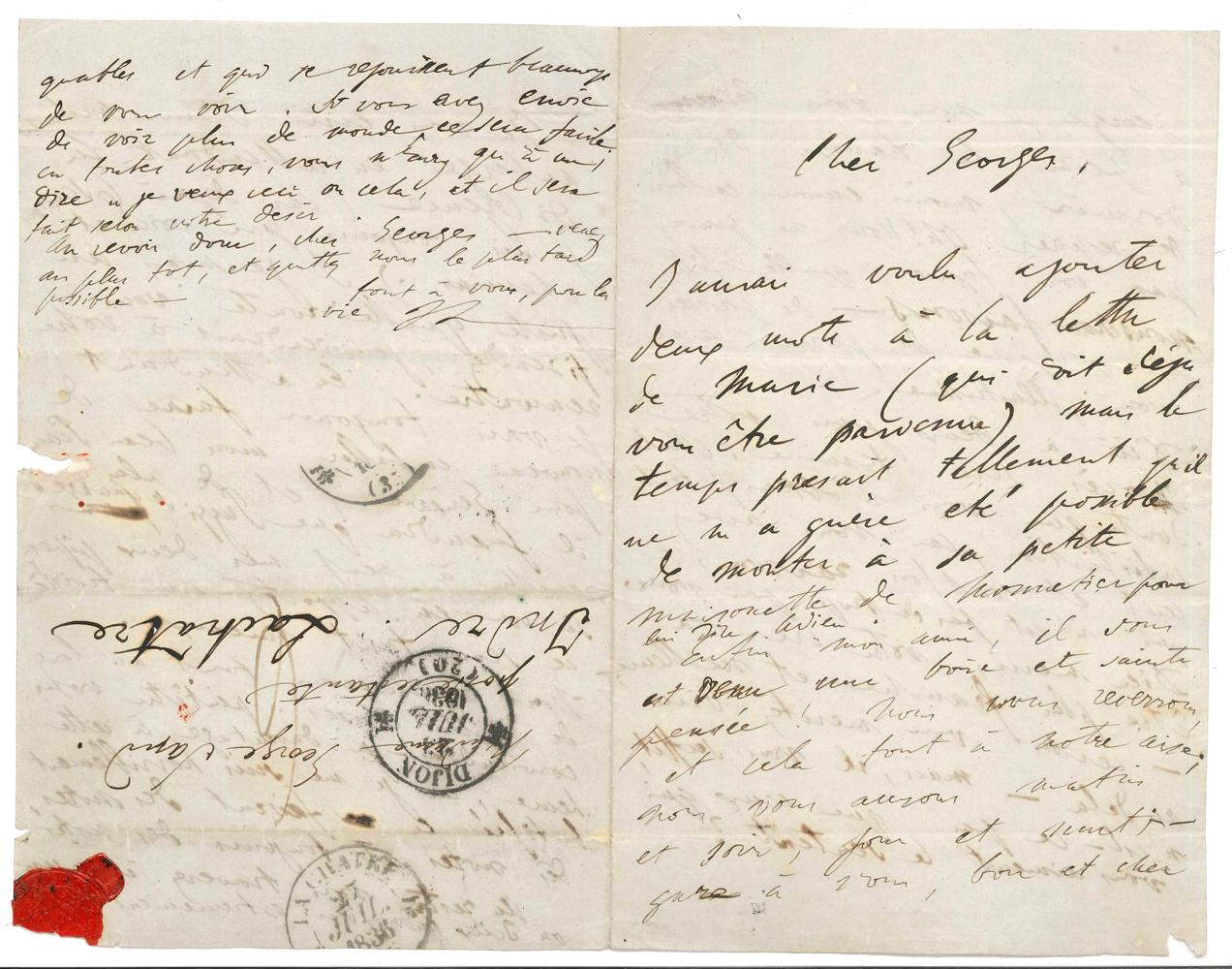 franz-liszt-1811-1886-l-a-s-fl-dijon-23-juillet-1836-a-george-sand-a-la-chatre-3-pages-et-demie-in-8-adresse-avec-cachets-postaux-et-cachet-de-cire-rouge-brise-tres-belle-lettre-amicale-sur-leur-projet-de--357A