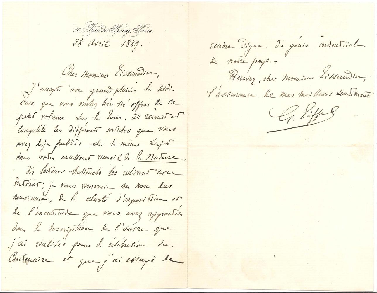gustave-eiffel-1832-1923-ingenieur-pionnier-de-larchitecture-metallique-l-a-s-paris-28-avril-1889-a-gaston-tissandier-1-page-et-demie-in-8-a-son-adresse-lettre-preface-pour-la-tour-eiffel-de-300-metres-description--410