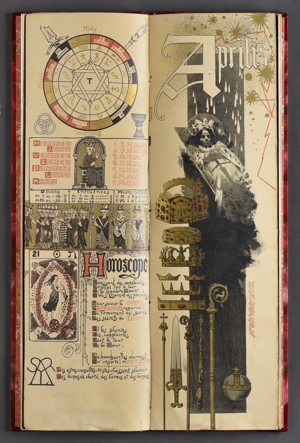 austin-de-croze-calendrier-magique-pour-lannee-1896-paris-lart-nouveau-1895-un-volume-in-folio-512-x-165-mm-de-16-ff-demi-reliure-a-coins-en-chagrin-rouge-dos-lisse-decore-et-dore-piece-de-titre-en-chagrin-rouge-sur-le--231
