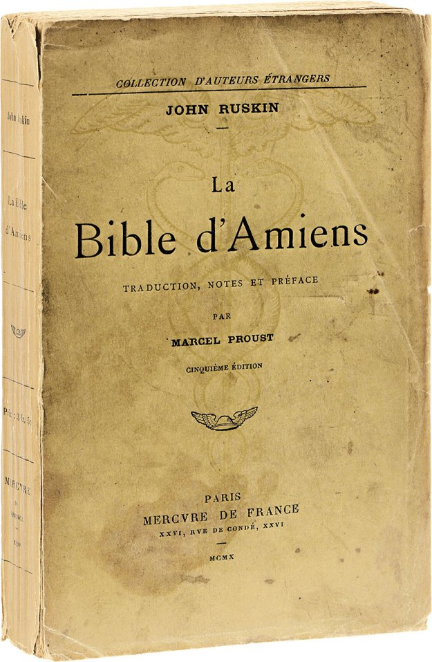 proust-m-ruskin-j-la-bible-damiens-traduction-notes-et-preface-par-marcel-proust-paris-mercure-de-france-1910-in-12-broche-chemise-demi-maroquin-rouge-etui-exemplaire-avec-mention-dedition-enrichi-dun-bel-et--130