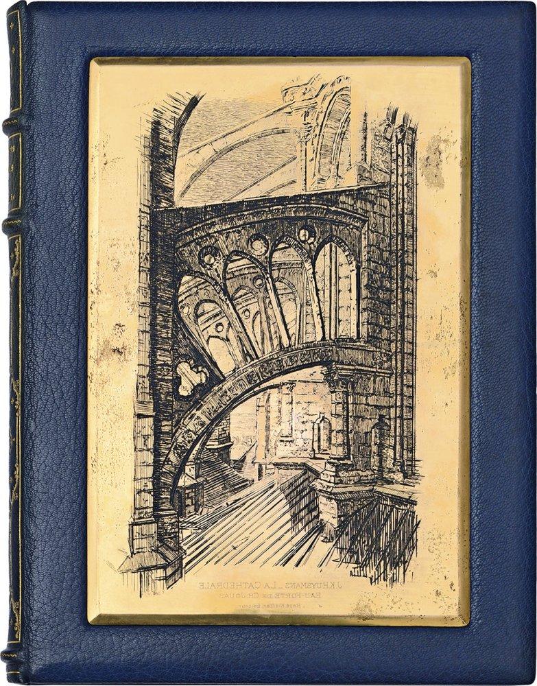 huysmans-j-k-jouas-charles-la-cathedrale-paris-a-blaizot-et-p-kieffer-1909-3-vol-in-4-dont-2-de-suites-mar-vert-bronze-dos-a-nerfs-ornes-en-long-de-fil-et-motifs-dores-double-fil-dor-sur-le-volume-de-texte-dent-et-fil--67
