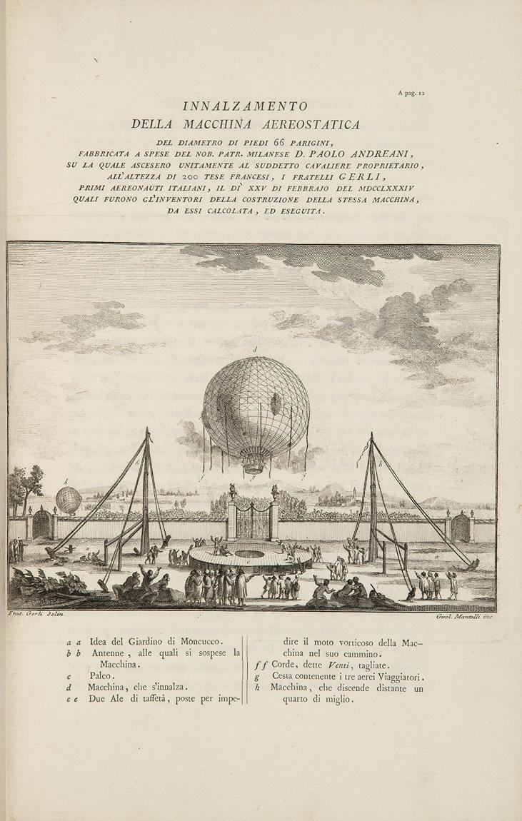 aerostation-gerli-agostino-giuseppe-et-carlo-opuscoli-parme-de-l-imprimerie-royale-1785-in-folio-bradel-demi-percaline-beige-dos-lisse-portant-le-titre-dore-tranches-mouchetees-de-bleu-reliure-moderne-maggs-bros-the-history-of--1