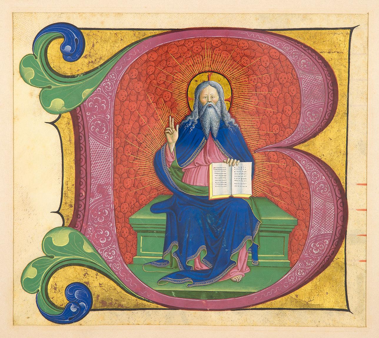manuscrit-lettrine-historiee-italie-xve-siecle-155-x-180-mm-lettrine-d-un-antiphonaire-sur-velin-representant-sur-un-fond-rouge-entierement-couvert-d-anges-dieu-le-pere-en-majeste-la-main-droite-benissant-et-le-texte-sacre--110